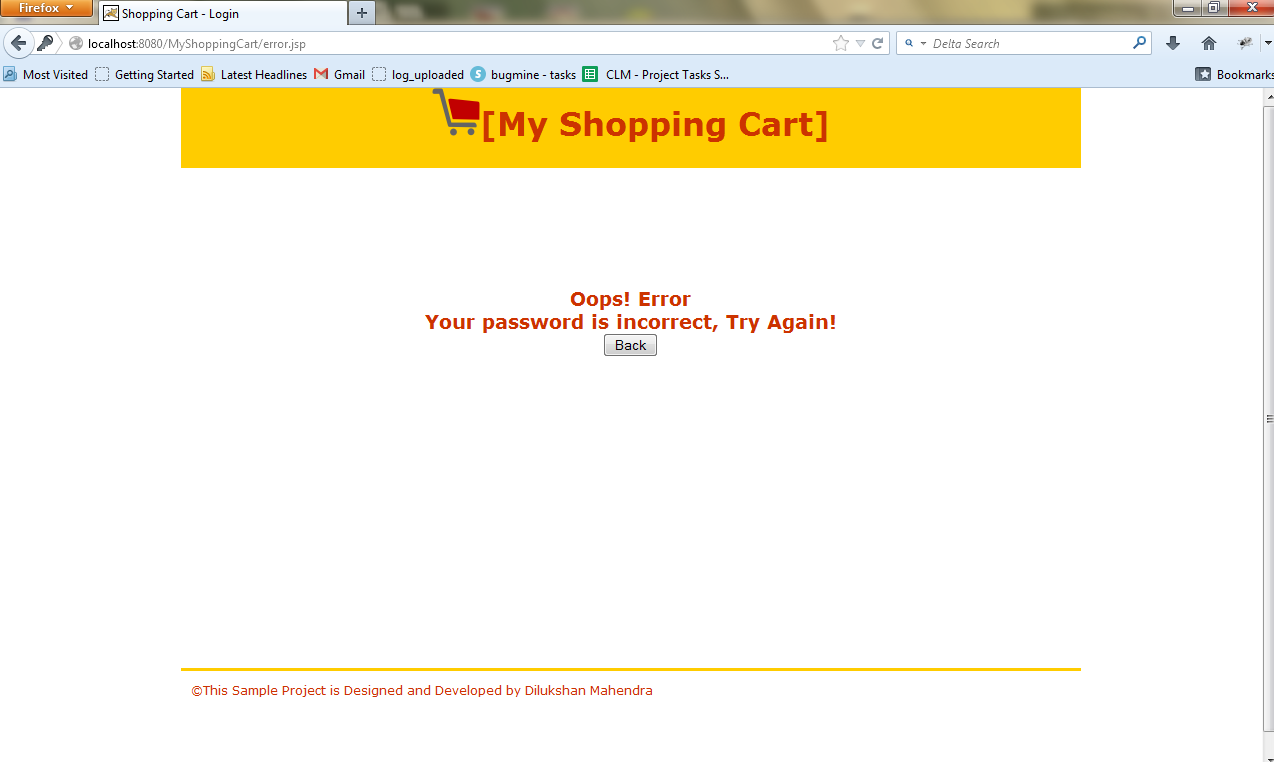 Simple Shopping Cart Project (Example) Using JSP and Servlet